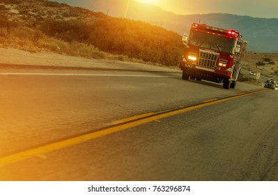Firetruck Speeding on Highway in California, USA. Fire Department Call to Action.