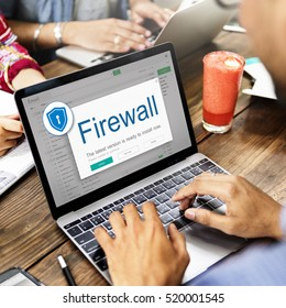 Firewall Anti virus Alert Protection Security Caution Concept