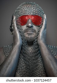 firewall, man with iron armor and red glasses, concept of protection and computer security
