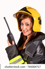 Firewoman with transmitter
