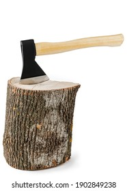 Firewood and an axe on a white isolated background. Renewable energy resource. Ecological concept.