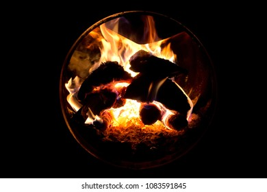 Firewood burning in the oven