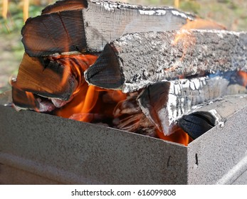 Firewood burning in a rusty metal tray for broiling pan in a fine sunny weather, close-up