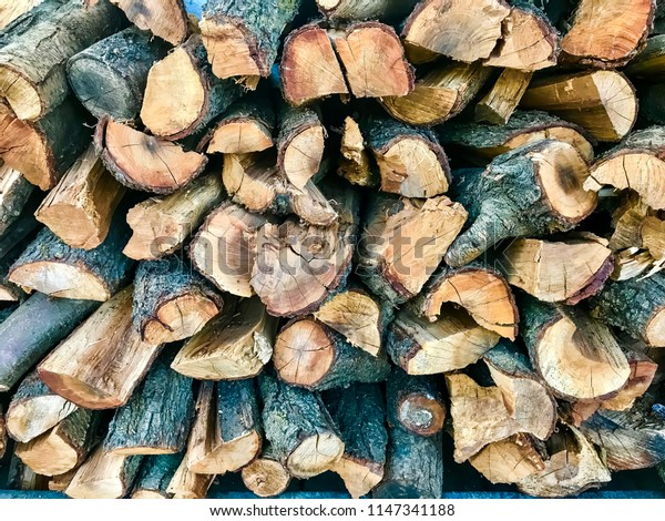 firewood drying for the fireplace