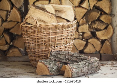 Firewood for the fireplace, barbecue. Folded firewood bbq