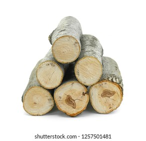Firewood isolated on white. Log Isolated on a white. Log fire wood isolated on white background with clipping path. Wooden obsolete log.