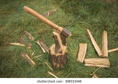 Firewood and old axe in the woods