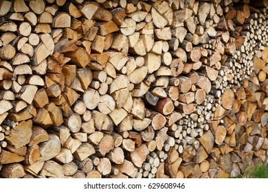 Firewood ready chopped and ready good stacked