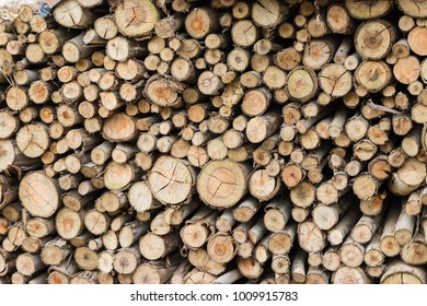 Firewood stacked for use in stoves