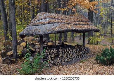 Firewood under a canopy.