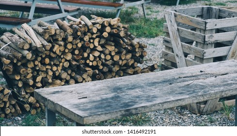 Firewood for the winter, stacks of firewood, pile of firewood.
