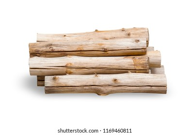 firewood wood logs isolated on white background