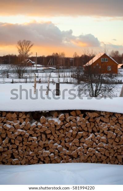 firewood wood  Russia Village winter Dawn ?sunset