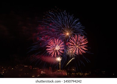Firework of the 14th of July 2019 in Biarritz city. Basque country of France.