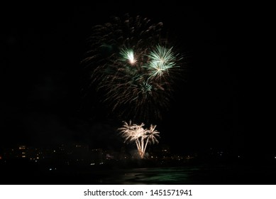 Firework of the Bastille Day in Biarritz. Basque country of France.