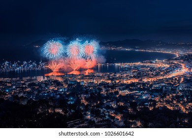 Firework in the bay of Cannes
