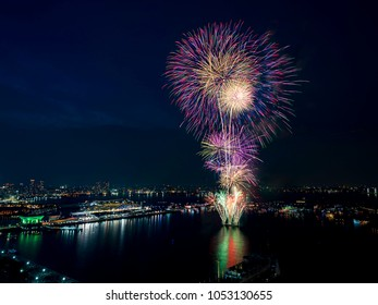 Firework and big cruise ship at Yokohama bay area, Kanagawa, Japan
