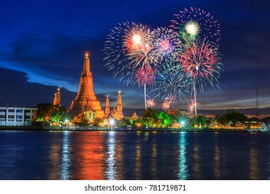 firework with Big pagoda of Wat Arun Ratchawararam Ratchawaramahawihan public landmark of Bangkok