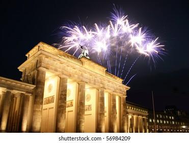 Firework at the Brandenburg Gate in Berlin