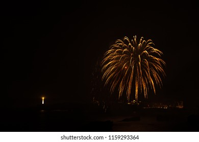Firework celebration in Biarritz, Basque country of France.
