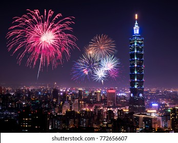 Firework with cityscape nightlife view of Taipei. Taiwan city skyline at twilight time, public scene from view point at Elephant Mountain Hiking Trail.