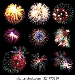 Firework collection and beautiful many fireworks, Fireworks light up the sky, New Year celebration firework, Set of colorful fireworks light on the black background.