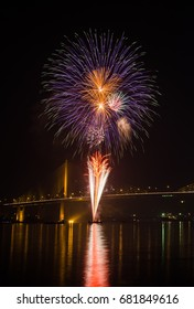 Firework display at Chao Phraya River, Bangkok Thailand.