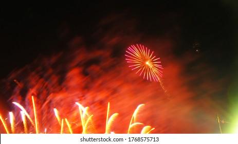 Firework display in dark sky