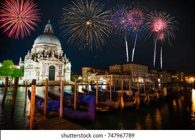 Firework display near Santa Maria Cathedral in Venice, Italy