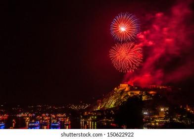 firework display of Rhine in Flames in Koblenz 2013