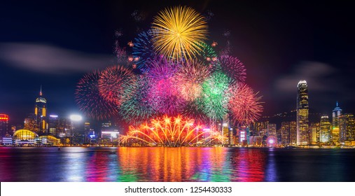 Firework festival in Hong Kong at night.