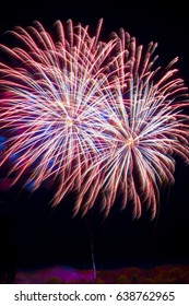 Firework fireworks celebration red blue white tails