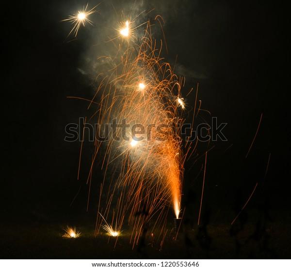 Firework light trails in the garden