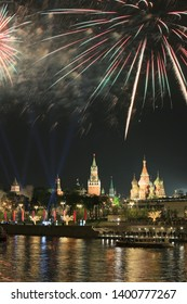 Firework in Moscow over the Moscow Kremlin