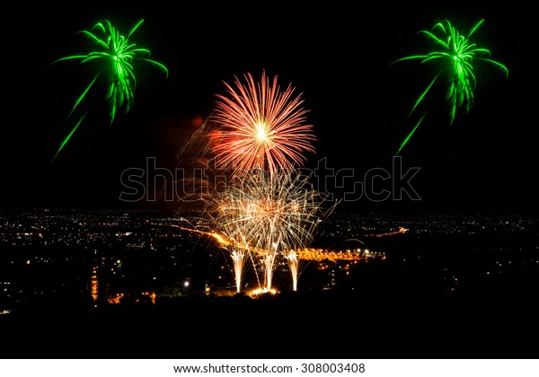 Firework on the black sky background.