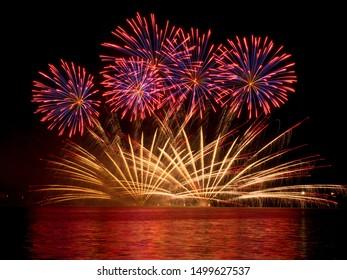 firework on festival ignis brunensis in brno czech republic