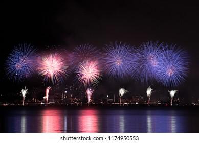 Firework on the lake. Suwa-lake, Nagano, Japan.