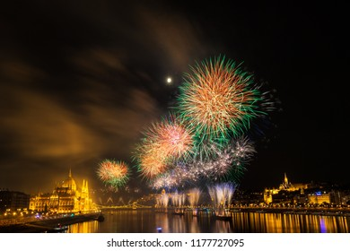 Firework over Danube river in Budapest, Hungary