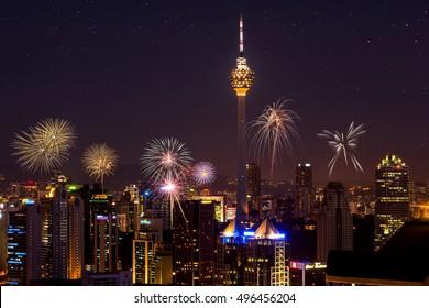 Firework over kuala lumpur city, KL tower Malaysia skyline