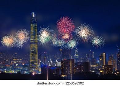 firework over kuala lumpur skyline on tun razak exchange business district,malaysia tallest building