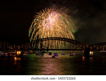 Firework over the rhine river, Cologne, Germany