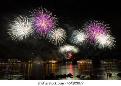 Firework over the rhine river, Mainz, Germany