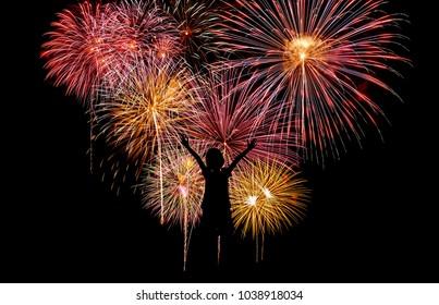 firework streaks in night sky.