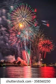 Firework at Wat arun under new year 2016 celebration time, Thailand.