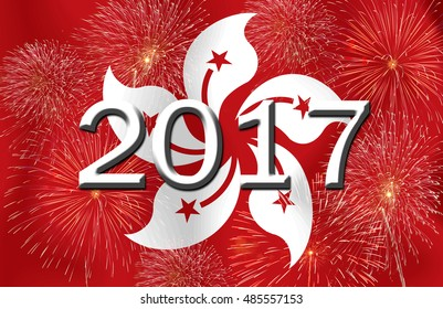 Fireworks and 2017 on the  Hong Kong flag.Concept Happy New Year 2017 for a background .