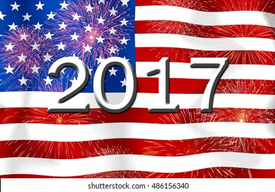 Fireworks and 2017 on the  United States of America flag.Concept Happy New Year 2017 for a background .