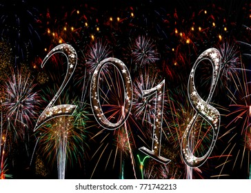 Fireworks 2018 New Year 2018 numbers with stars. Ratio for A5 and 7x5 greeting card size
