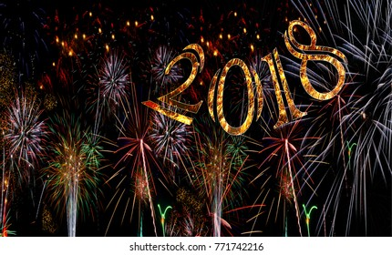 Fireworks 2018 New Years Eve concept gold numbers exploding bursting fire works