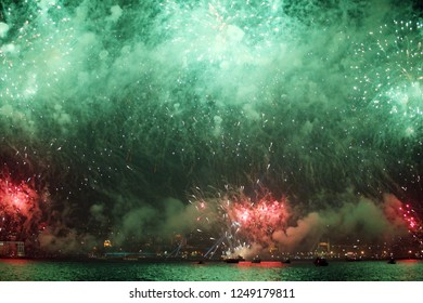 Fireworks and 29 October celebrations at Bosphorus in Istanbul, Turkey.