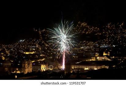 Fireworks above Cusco City Centre, Peru